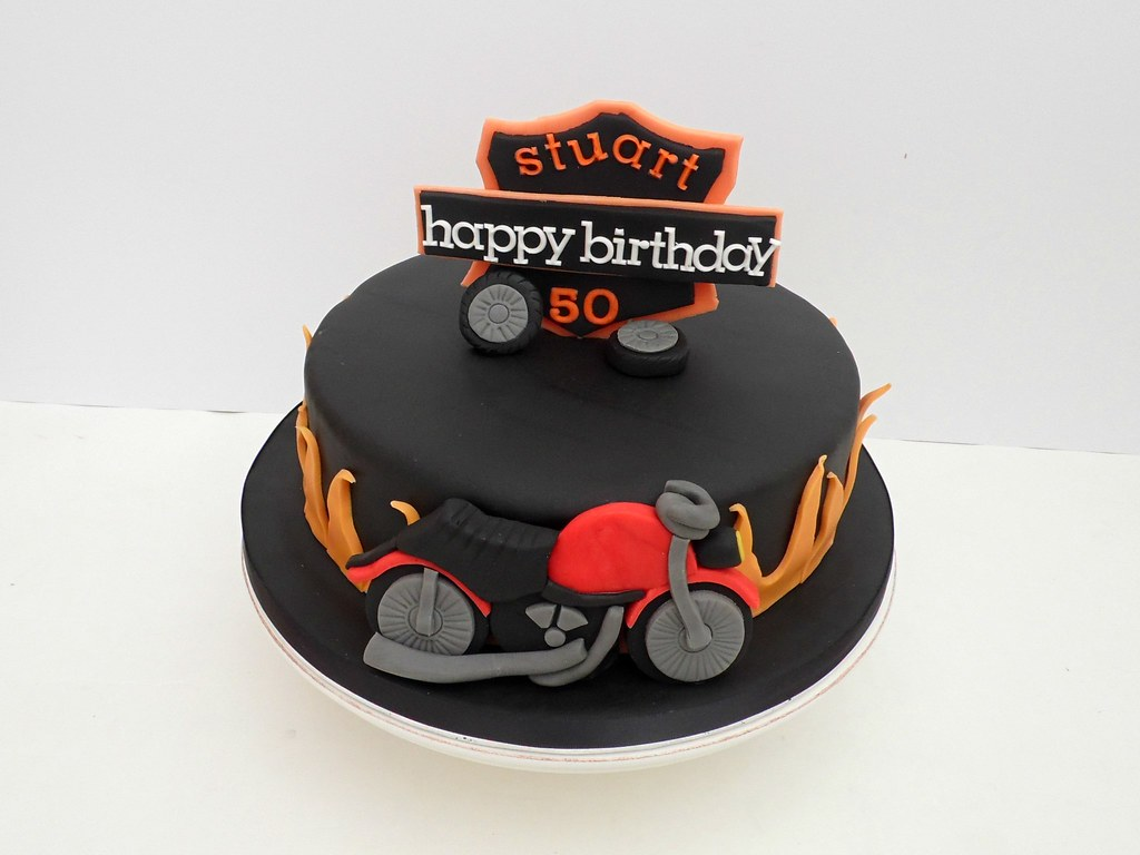 Remarkable Harley Davidson 50Th Birthday Cake The Customer Sent Me A Flickr Funny Birthday Cards Online Fluifree Goldxyz