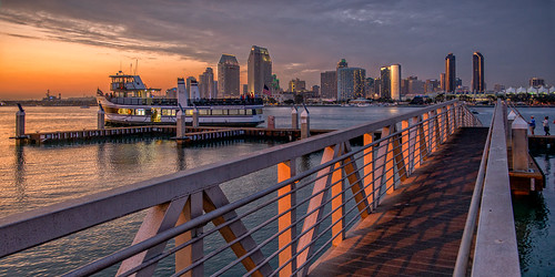 california sunset ferry skyline bay harbor ramp cityscape sandiego coronado boatdock sandiegoskyline nikon2470mm nikond800