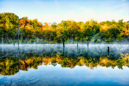 autumn trees ohio sky lake reflection water leaves weather fog mirror cool pond stones cincinnati hdr highdynamicrange eastforklake