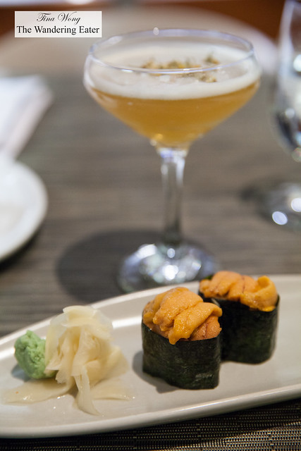 Uni maki rolls and Southern Belle cocktail