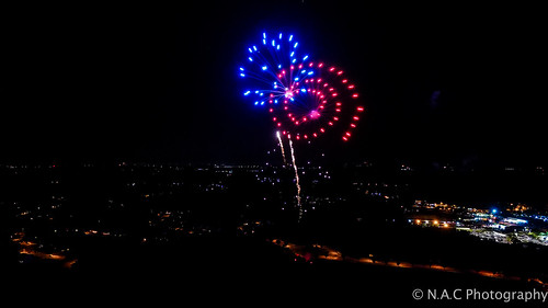 city family red summer sky holiday nature night buildings landscape fun nc fireworks parks 4th northcarolina roads 4thofjuly aerialphotography drone dji