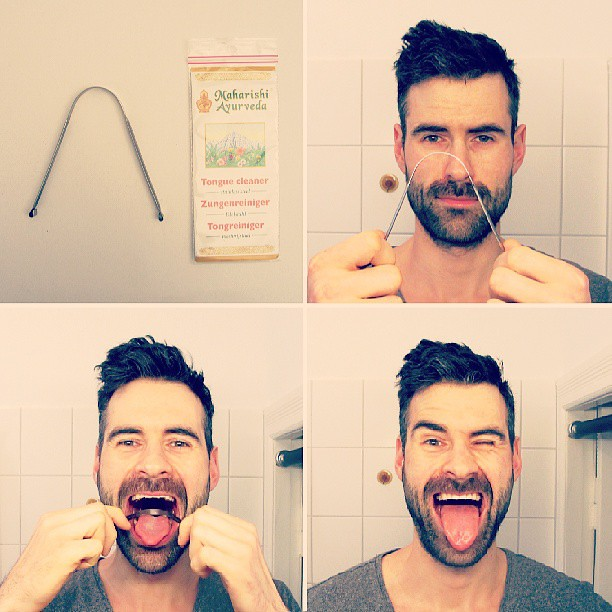 Tongue Scraper - handy device to get your tongue clean from bacteria before brushing your teeth. Far better results than with my teaspoon that I've used before. Be sure that there could occur same irritations (little blood, injuries) the first days until