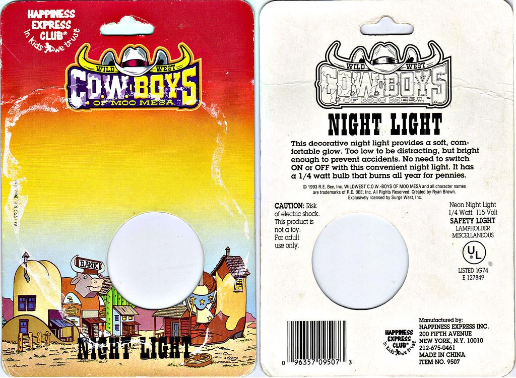 HAPPINESS EXPRESS INC :: Wild West C.O.W.-Boys of MOO MESA ; NIGHT LIGHT ..card backer (( 1993 )) by tOkKa