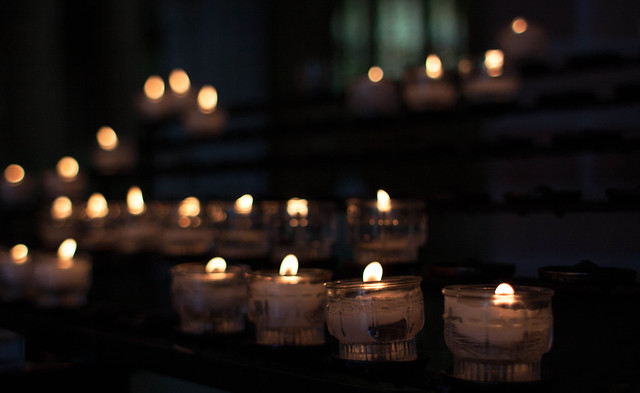 candles inside church