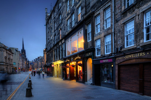 Blue Hour Along Edinburgh's High Street