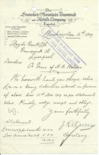 Snowdon Mountain Tramroad and Hotels Company letterhead 1919 | by ian.dinmore