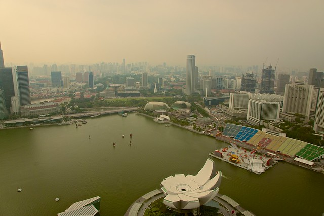 View over Singapore from the roof of the Marina Bay Sands Hotel