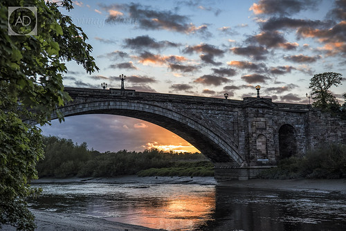 city bridge trees sunset sky nature water weather landscape chester riverdee grosvenorbridgechester