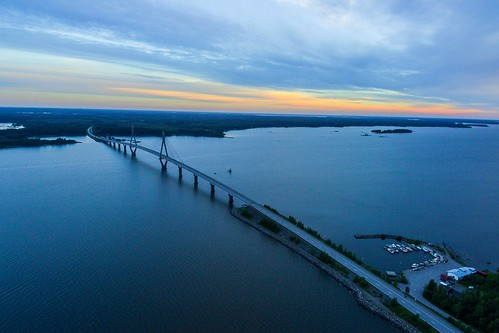 morning bridge summer sunrise finland early drone raippaluoto replot dji