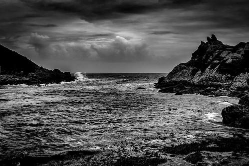 greatbritain beach bw seascape england cornwall langzeitbelichtung polperro lansallos grosbritannien gbr