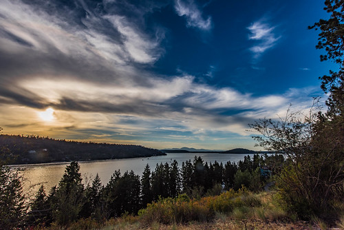 blue coeurdalene idaho lake summer sunset unitedstates usa