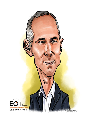 digital Cameron Herold caricature for EO Singapore | by jit@portraitworkshop.com