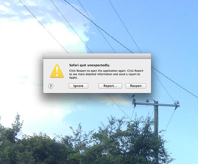 Safari quit unexpectedly.