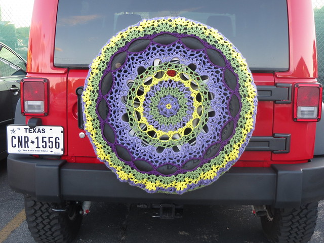 Crocheted Jeep spare tire cover