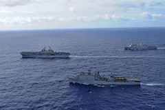 In this file photo, USS Boxer (LHD 4), USS Harpers Ferry (LSD 49) and the USS New Orleans (LPD 18) transit together in the Pacific while returning from deployment in 2014. (U.S. Navy/MC3 Mayra A. Knight)
