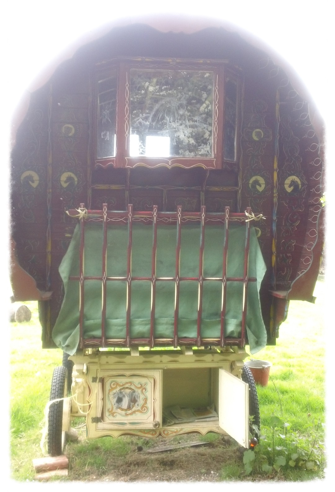 Gypsy caravan head-on view