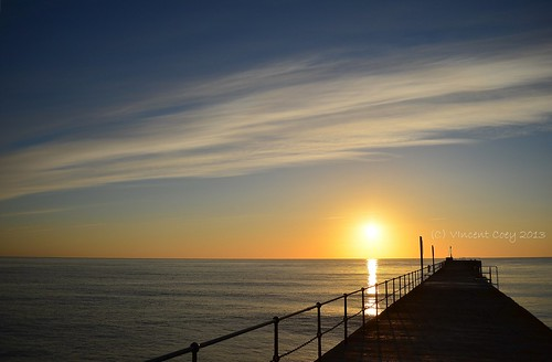 ireland sea sky irish sun water clouds sunrise fence pier town nikon horizon wicklow countywicklow d5100