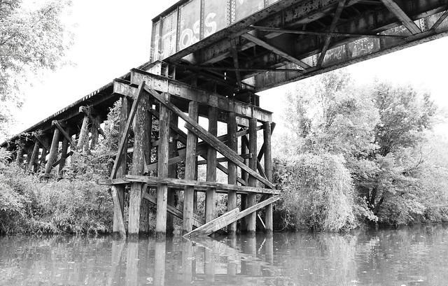 Pony Girder Railroad Bridge over Cedar Bayou, Baytown, Texas 1309281515BW