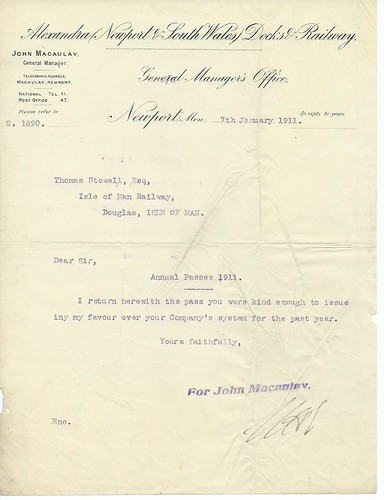 Alexander(Newport & South Wales) Docks & Railway letter re IOM pass Rly 1911 | by ian.dinmore