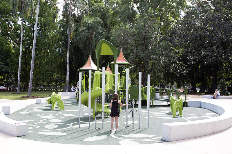 Girl playing in City Botanic Gardens upgraded playground
