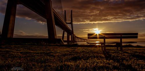 lisboa tejo vasco bridge gama lisbon nascer ponte portugal rio river riverside sol sunrise tagus vascodagama sacavém pt