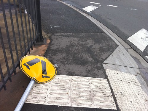 sign ground yellow footpath markings down walkingteaching footscray melbourne victoria australia pc3011 footscraypc3011 footscray3011 auspctaggedpc3011 mophone fltr c902 iphone4 trove australiainpictures troveaus unfound art