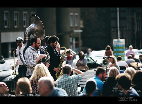 Horndog Brass Band playing in the Grass Market- Edinburgh Festival Fringe 2013 - 9944 | by motion-images