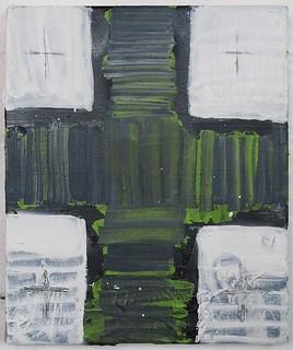Zavier Ellis 'After (Eugene)', 2013 Oil & collage on canvas 30.5x25.5cm