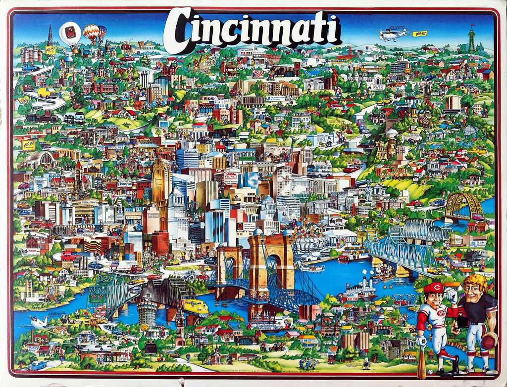 Cincinnati, Ohio fun map (1982) | City Character Print Produ ... on