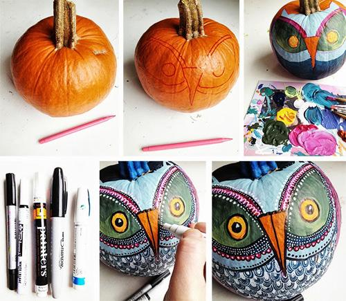Painted Owl Pumpkins