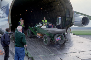 Antonov unloading a 3 Litre Vintage Bentley at Yekaterinburg Airport  Russia 2003 (Leica M6 35.1.4 )