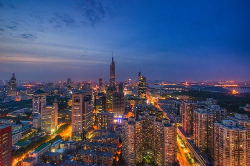 china city blue summer sky urban cloud building skyline architecture night skyscraper cn twilight nikon cityscape dusk landmark tall nanjing birdseyeview d800 nikond800 jiangsusheng nanjingshi tamronsp1530f28