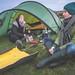 Pippa Murphy & Karine Polwart set up camp to record sounds at Fala Moor