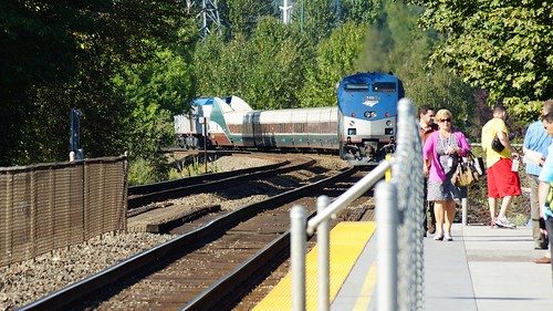 Cascades being push/pulled north out of Tukwila Station