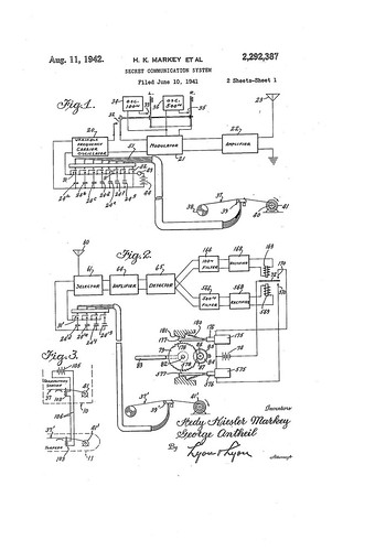Hedy Lamarr's Patent US2292387 - Figures 1-3