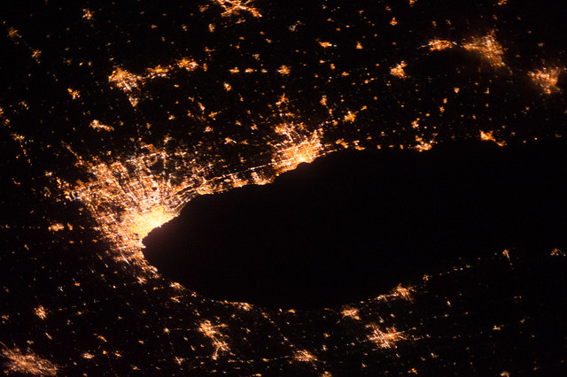 Greater Chicago Area at Night (NASA, International Space Station, 10/09/13)