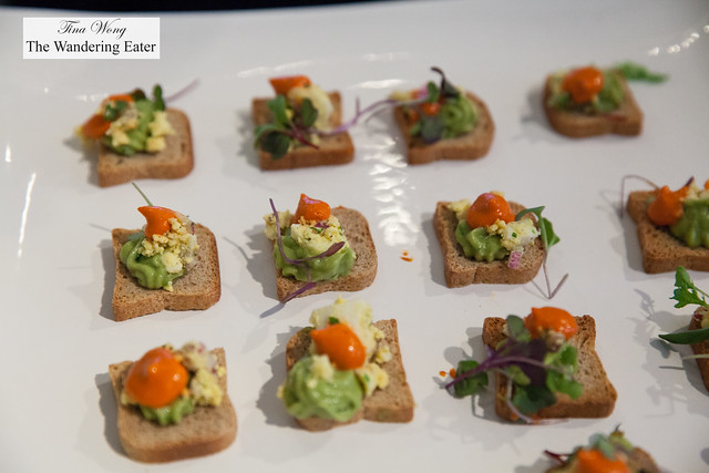 Avocado toast with boiled egg and romanesco sauce by Mezetto