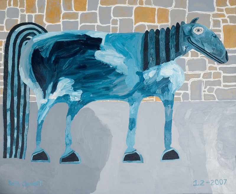 "The Turquoise Pinto Fantasy Horse with Gold and Gray Stone Wall (70"" x 84"" oil on canvas)"