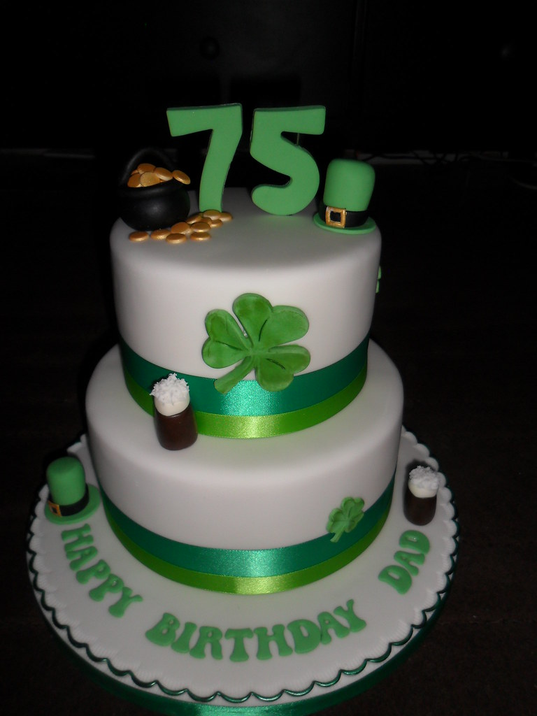Excellent Irish 75Th 2 Tier Clover Guiness Happy Birthday Cake Flickr Birthday Cards Printable Riciscafe Filternl