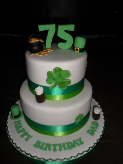 irish 75th 2 tier clover guiness happy birthday cake | by Sprinkled With Love cupcakes by lizzie sprinkledwi