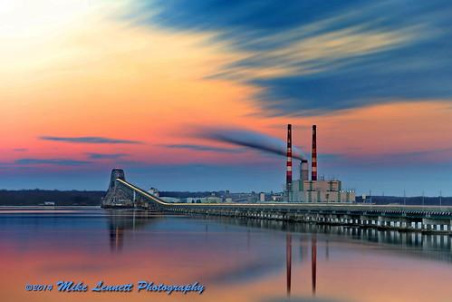 longexposure bridge sunset plant color river power potomac powerplant mikelennett