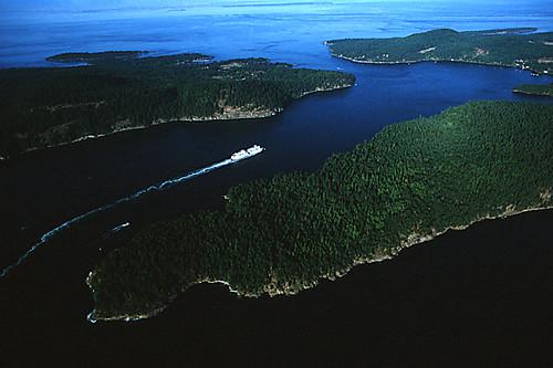 BC Ferry in Active Pass, between Mayne Island and Galiano Island, Gulf Islands, Georgia Strait, British Columbia, Canada
