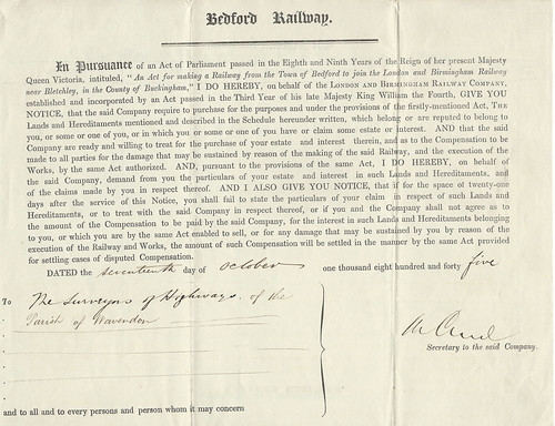 Bedford Railway Notice to Treat 1845 | by ian.dinmore