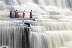 Monks on Waterfall