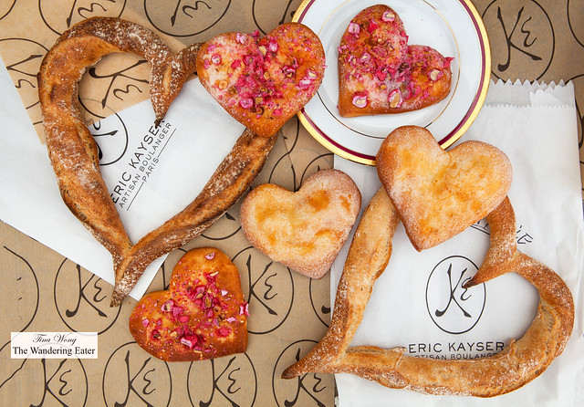 Heart-shaped baguettes and La Bressanes (heart-shaped brioches with sugar or pink praline)