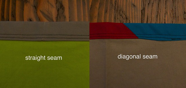 straight vs diagonal seam