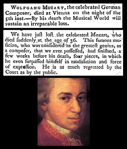 5th December 1791 - Death of Wolfgang Amadeus Mozart | by Bradford Timeline