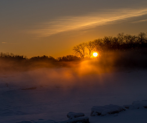 morning winter orange mist cold clouds sunrise river frozen horizon illuminated
