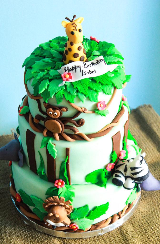 Stupendous Safari Themed Birthday Cake Ria Mathew Flickr Funny Birthday Cards Online Elaedamsfinfo