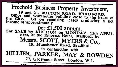2nd April 1957 - For Sale : 19/21 Bolton Road, Bradford | by Bradford Timeline